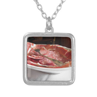 Platter of cold cuts silver plated necklace