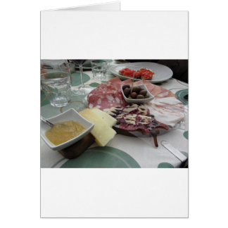 Platter of cold cuts with rustic ham prosciutto card