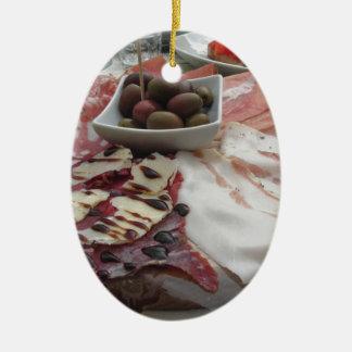 Platter of cold cuts with rustic ham prosciutto ceramic oval ornament