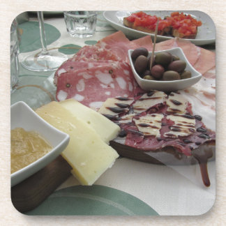 Platter of cold cuts with rustic ham prosciutto coaster
