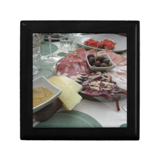 Platter of cold cuts with rustic ham prosciutto gift box