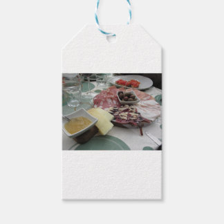 Platter of cold cuts with rustic ham prosciutto gift tags