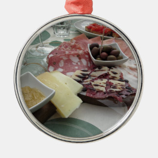 Platter of cold cuts with rustic ham prosciutto metal ornament