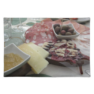 Platter of cold cuts with rustic ham prosciutto placemat