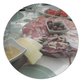 Platter of cold cuts with rustic ham prosciutto plate