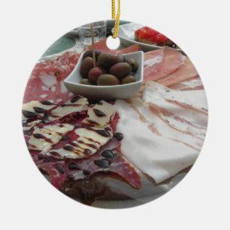 Platter of cold cuts with rustic ham prosciutto round ceramic ornament