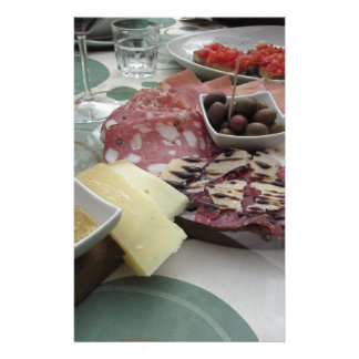 Platter of cold cuts with rustic ham prosciutto stationery