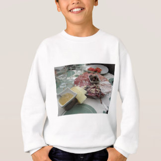 Platter of cold cuts with rustic ham prosciutto sweatshirt