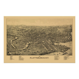 Plattsburgh, NY Panoramic Map - 1899 Poster