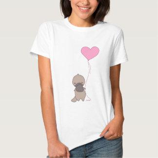 Platypus Holding Heart Balloon Tee Shirts