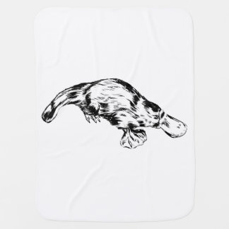 Platypus Realistic Black and White Illustration Baby Blanket