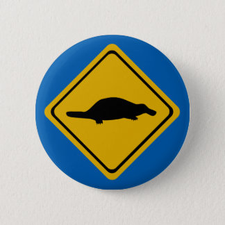 platypus road sign 2 inch round button