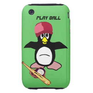 Play Ball a funny penguin baseball design iPhone 3 Tough Case