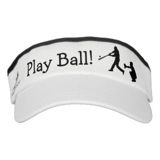 Play Ball Baseball Black and White Sports Visor