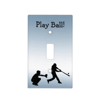 Play Ball Baseball Blue Sports Light Switch Cover