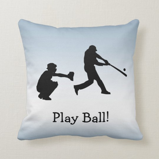 Play Ball Baseball Blue Sports Pillow