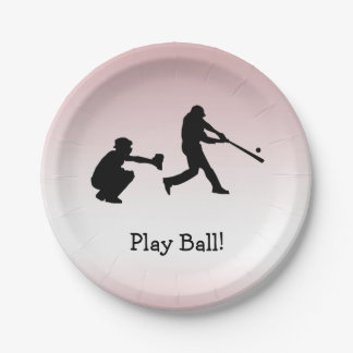 Play Ball Baseball Girly Pink Sports Paper Plate