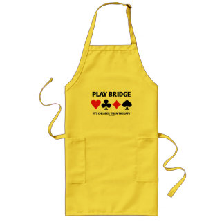 Play Bridge It's Cheaper Than Therapy (Card Suits) Long Apron