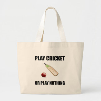 Play Cricket Or Nothing Black Large Tote Bag