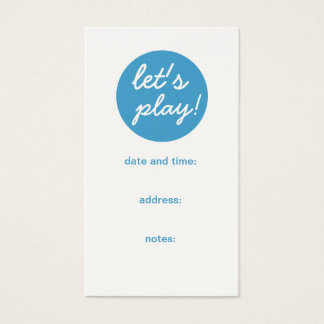 Play Date Appointment Mom Calling Card, Son Business Card