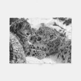 Play-Fighting Snow Leopard Brothers Fleece Blanket
