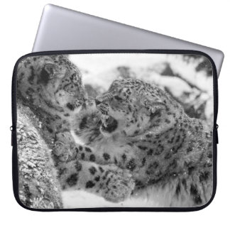 Play-Fighting Snow Leopard Brothers Laptop Sleeve