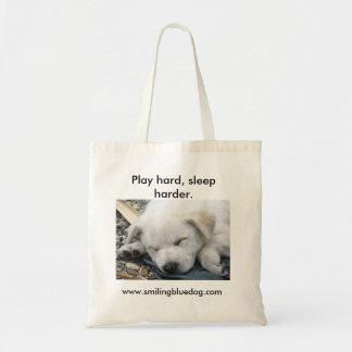 Play hard, sleep harder tote bag