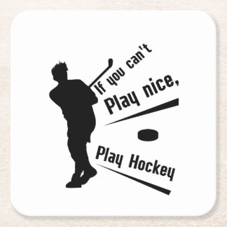 Play Hockey Funny Gifts Men Women Square Paper Coaster