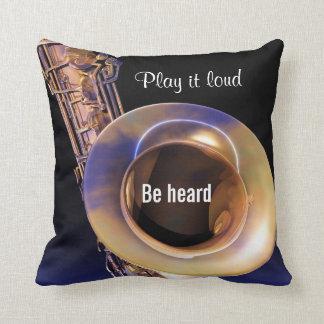 Play It Loud Saxophone Music Throw Pillow