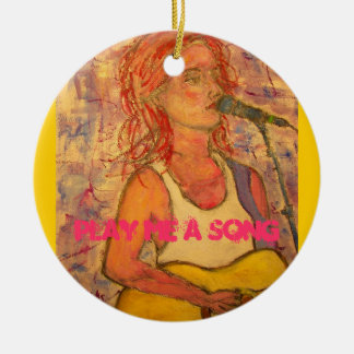 play me a song round ceramic ornament