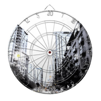 Play of dart, photograph of city the night dartboard