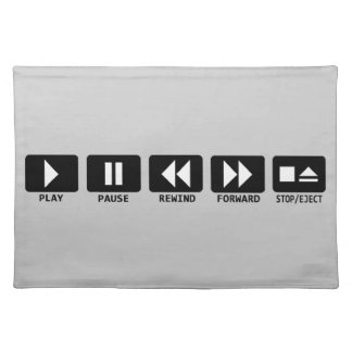 play pause rewind forward stop/eject placemats