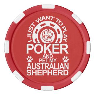 Play Poker And Pet My Australian Shepherd Dog Poker Chips