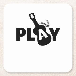 Play Ukulele Uke Music Lover Gift Funny Square Paper Coaster