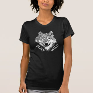 Play Wild Gray Hipster Wolf Head T-Shirt