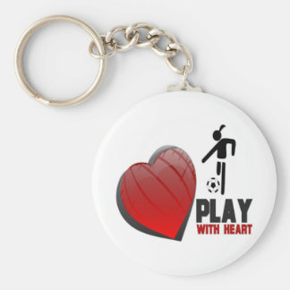 PLAY WITH HEART GIRL'S SOCCER BASIC ROUND BUTTON KEYCHAIN