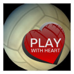 Play With Heart Girls Volleyball Poster