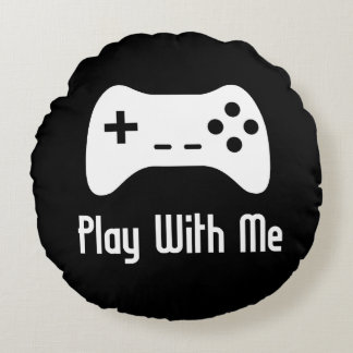 Play With Me Video Game Round Pillow