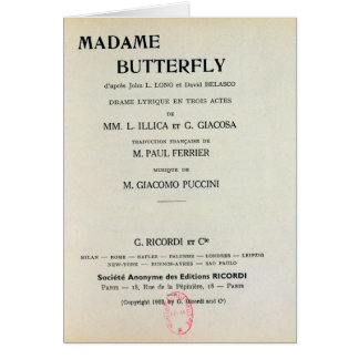 Playbill for Madame Butterfly by Giacomo Card
