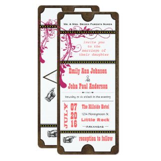 Playbill Ticket Wedding Raspberry Coral and Yellow Card