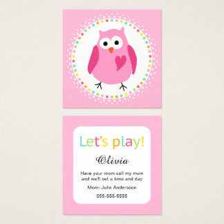 Playdate mommy calling cards with cute owl
