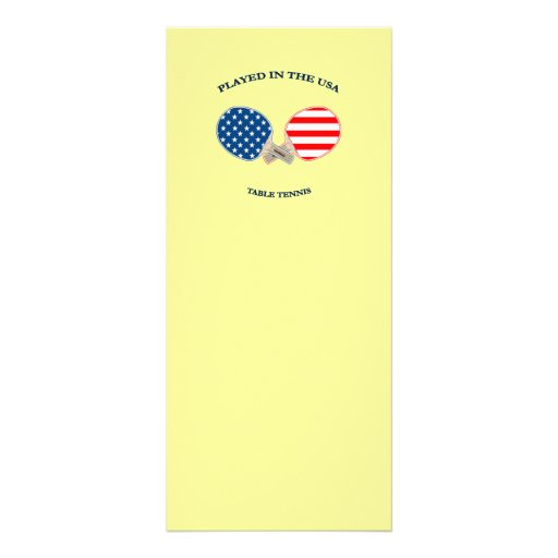 Played in USA Table Tennis Rack Card