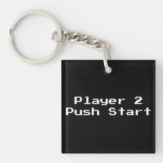 Player 2 Push Start Square Acrylic Key Chain
