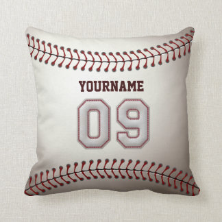 Player Number 09 - Cool Baseball Stitches Throw Pillow