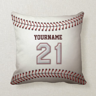 Player Number 21 - Cool Baseball Stitches Throw Pillow