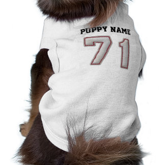Player Number 71 - Cool Baseball Stitches Dog Tee