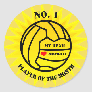 Player Of The Month Netball Reward Classic Round Sticker