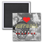 Player Positions and Heart Design I Love Netball Magnet