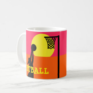 Player Silhouette Netball Theme Personalised Coffee Mug