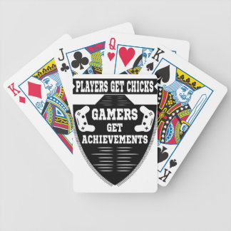 Players get chicks gamers get achivements bicycle playing cards